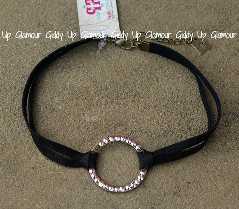 Pink Panache Black Leather Double Strand Choker Necklace with AB Crystal Open Circle