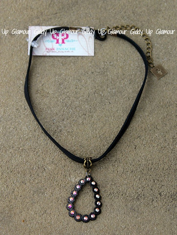 Pink Panache Black Leather Choker Necklace with Black Matte Crystal Open Teardrop with AB Crystals