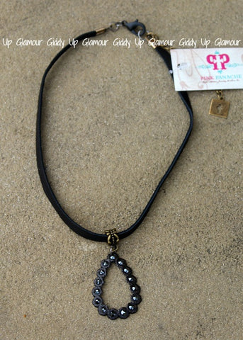 Pink Panache Black Leather Choker Necklace with Black Matte Crystal Open Teardrop with Black Crystals