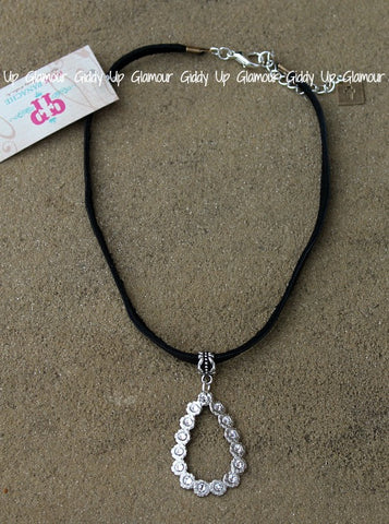 Pink Panache Black Leather Choker Necklace with Silver Crystal Open Teardrop with Clear Crystals