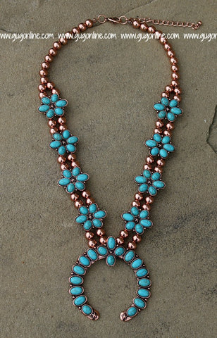 Copper and Turquoise Flower Squash Blossom Necklace