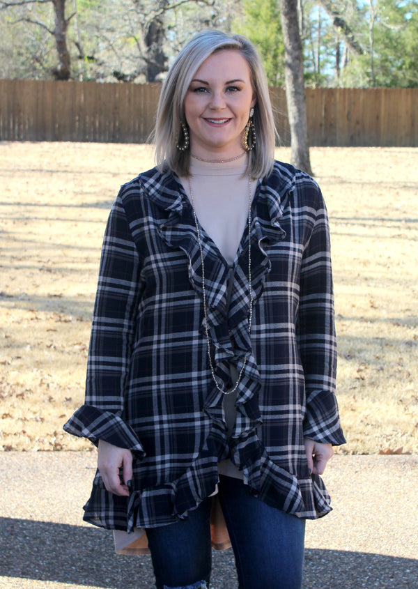 Just By Chance Long Sleeve Ruffled Plaid Cardigan in Navy Blue