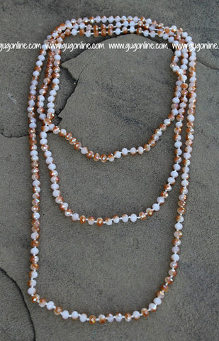 80 Inch Long Crystal Necklace in Ivory & Rust