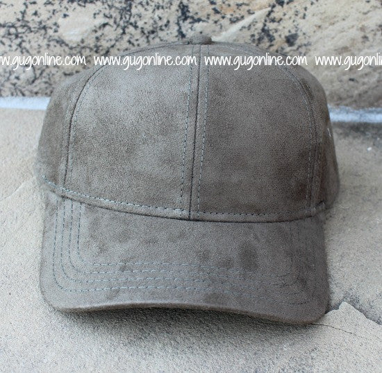 Olive CC Suede Baseball Cap