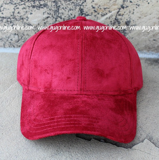 Red CC Suede Baseball Cap