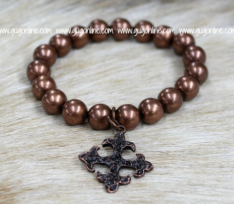 Copper Round Bead Stretch Bracelet with Cross Charm