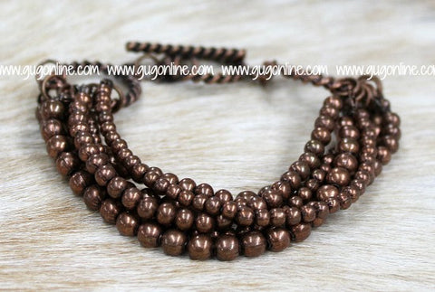 Six Strand Copper Bead Bracelet