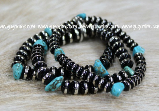 Set of Three Burnished Silver and Black Bead Bracelet with Turquoise Accents