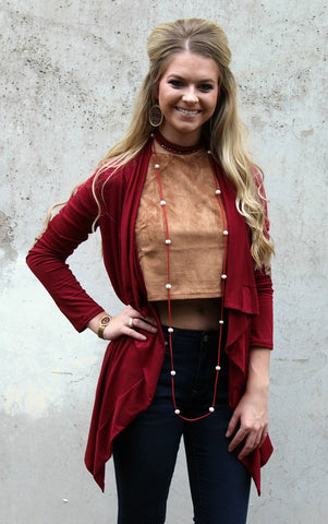 Basically Perfect Cardigan with Elbow Patches in Maroon