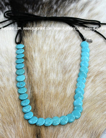 Long Turquoise Disc Necklace with Black Leather Tie