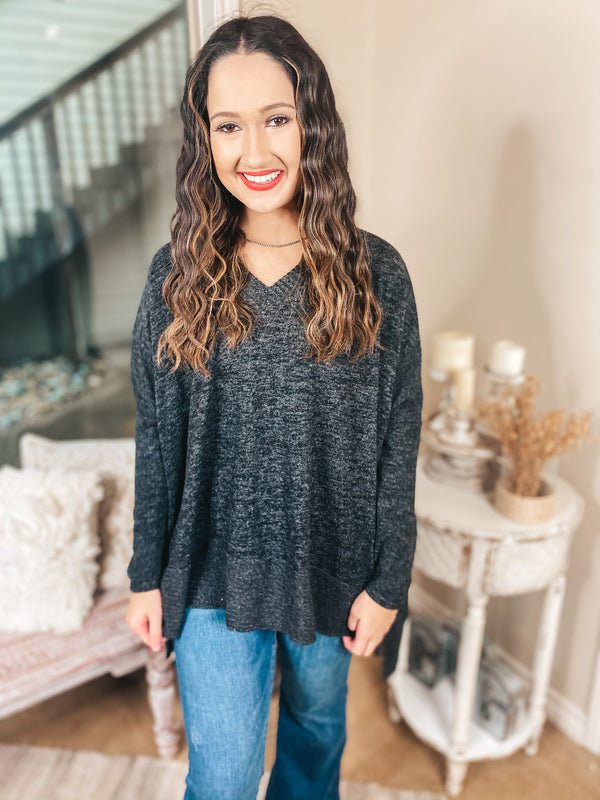My Softer Side Long Sleeve Poncho Brushed Hacci Top in Heather Black