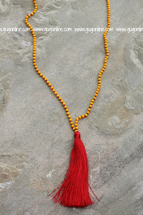 Long Yellow Crystal Tassel Necklace with Red Tassel