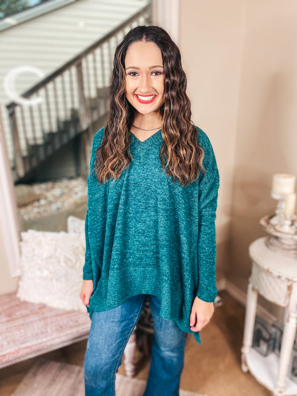 My Softer Side Long Sleeve Poncho Brushed Hacci Top in Teal