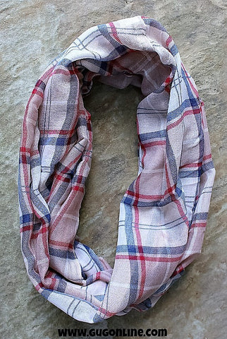 Tan Plaid Infinity Scarf