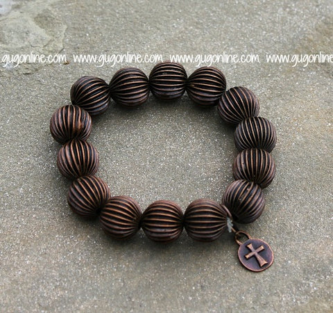 Textured Copper Bead Stretchy Bracelet