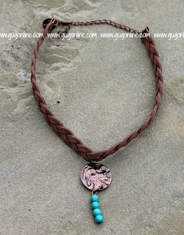 Brown Braided Leather Choker with Copper Indian Charm and Turquoise Accent
