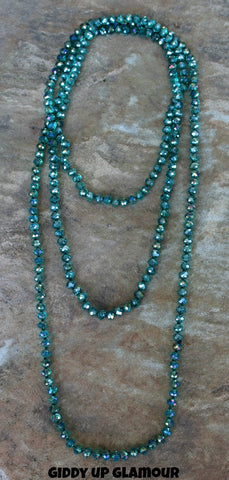 80 Inch Long Strand of Teal Crystal Necklace