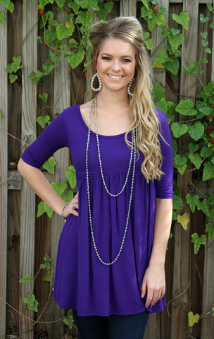 Everyday Classic Babydoll Tunic in Purple