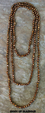 80 Inch Long Strand of Bronze Crystal Necklace