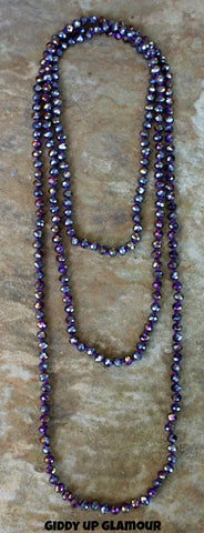 80 Inch Long Light Purple Crystal Necklace