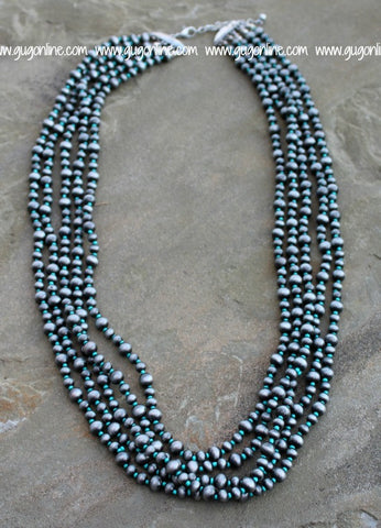 5 Strand Silver Navajo Pearl and Turquoise Necklace