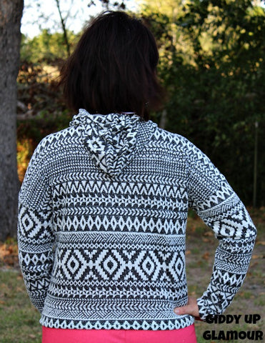 Again and Again Black and White Aztec Soft Hoodie