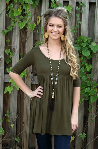 Everyday Classic Babydoll Tunic in Olive Green