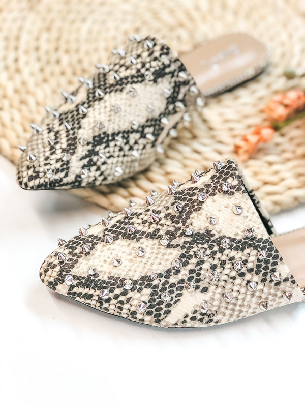 Uptown Girl Silver Spiked Slide On Mules in Snakeskin