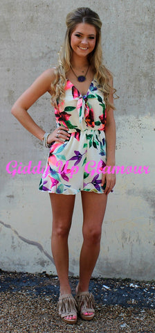 Hot Tropics Romper in Neon Florals