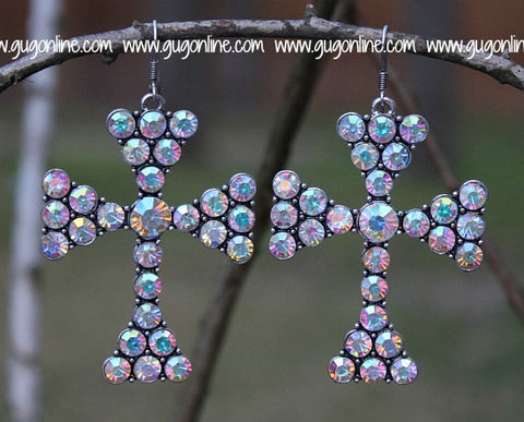 Large AB Crystal Cross Earrings