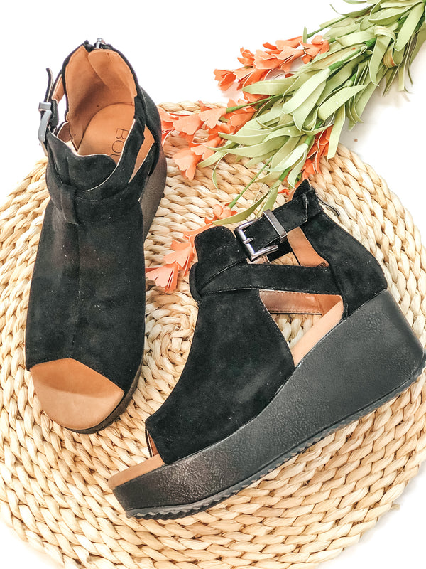 Corky's | Already Packed Suede Ankle Buckle Wedges in Black