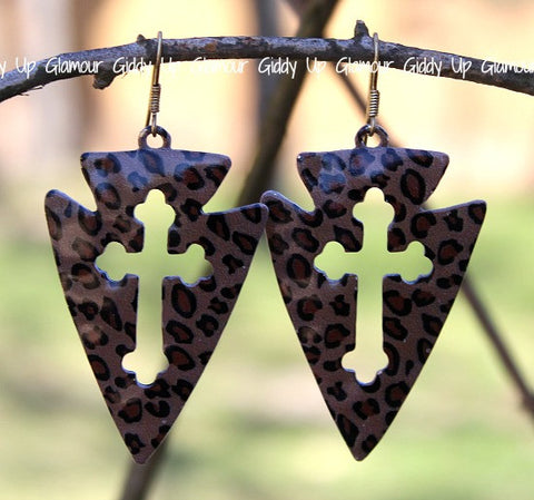 Leopard Arrow Earrings with Cross Cut Out
