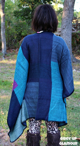 Campfire Crush Purple, Navy and Turquoise Poncho