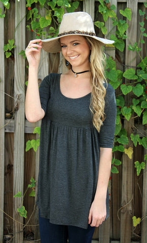 Everyday Classic Babydoll Tunic in Charcoal Grey