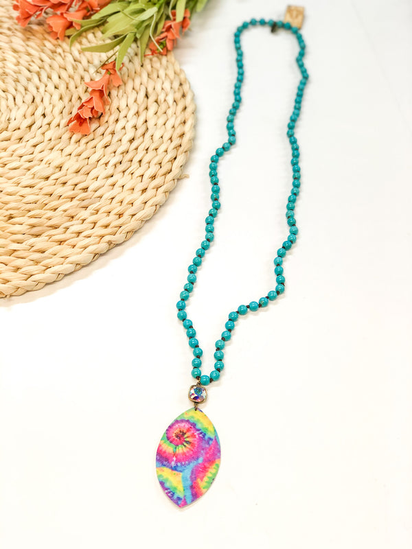 Pink Panache | Turquoise Beaded Tie Dye Necklace with AB Cushion Cut Crystal