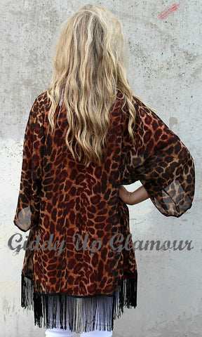 Cheetah Craze Sheer Kimono with Black Fringe