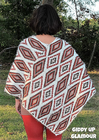 Autumn Winds Aztec Poncho in Rust, Ivory and Olive