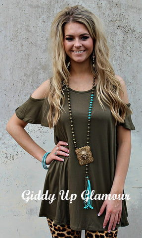 Don't Give Me The Cold Shoulder Top in Olive Green