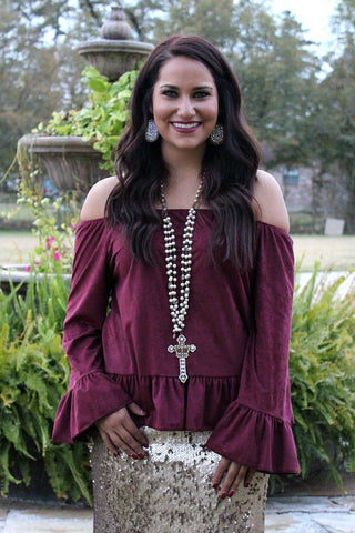 Chic and Sleek Off Shoulder Suede Ruffle Top in Maroon