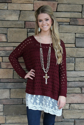 For the Love of Lace Maroon Sweater with Lace Trim