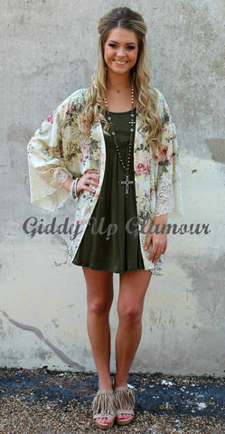 Always and Forever Rose Floral Kimono