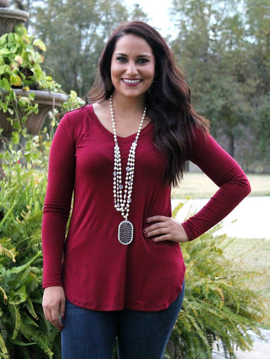 Simply The Best V Neck Long Sleeve Tee in Maroon