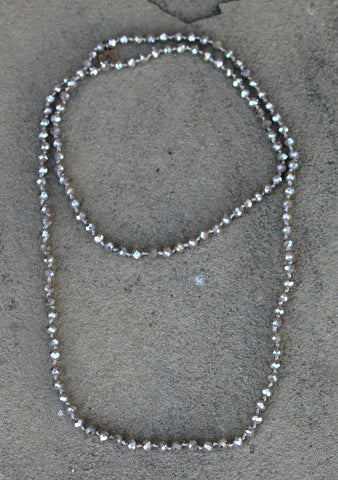 Pink Panache 62 Inch Crystal Layering Necklace in Taupe