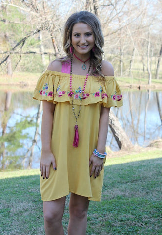 Bound for Sunshine Yellow Floral Embroidery Off Shoulder Dress