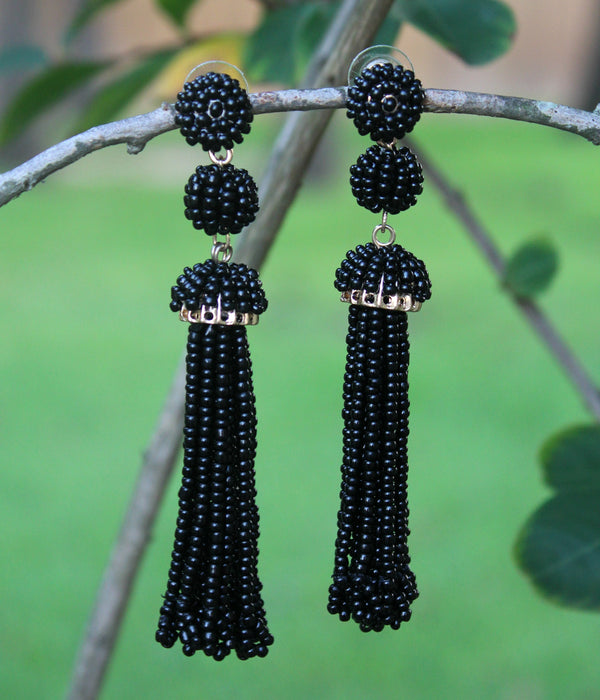 Totally Tassels Beaded Earrings in Black