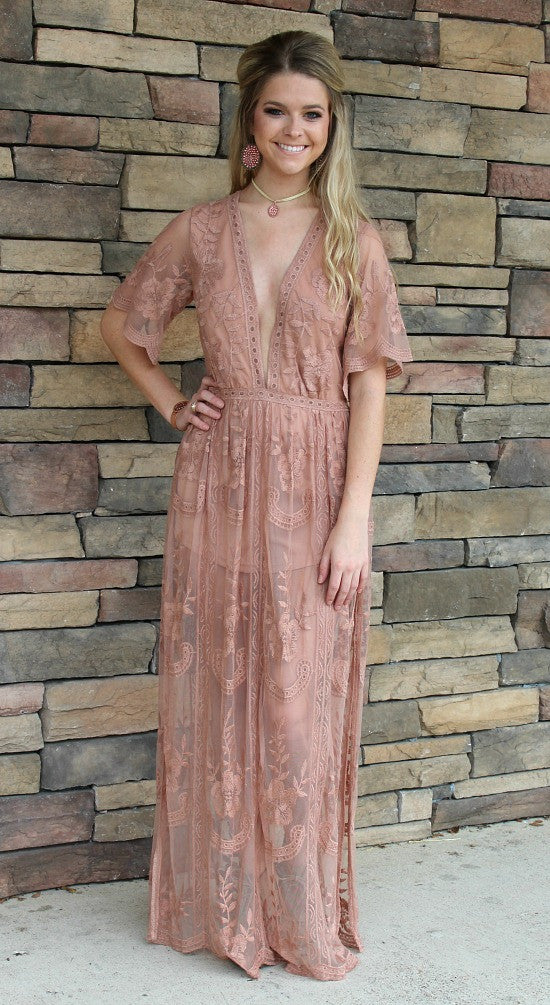 New Romantics Lace Romper in Mocha