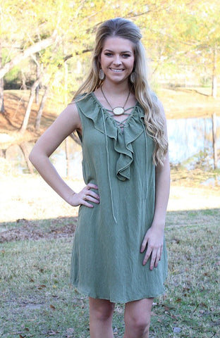 All My Wishes Lace Up Sleeveless Dress in Olive
