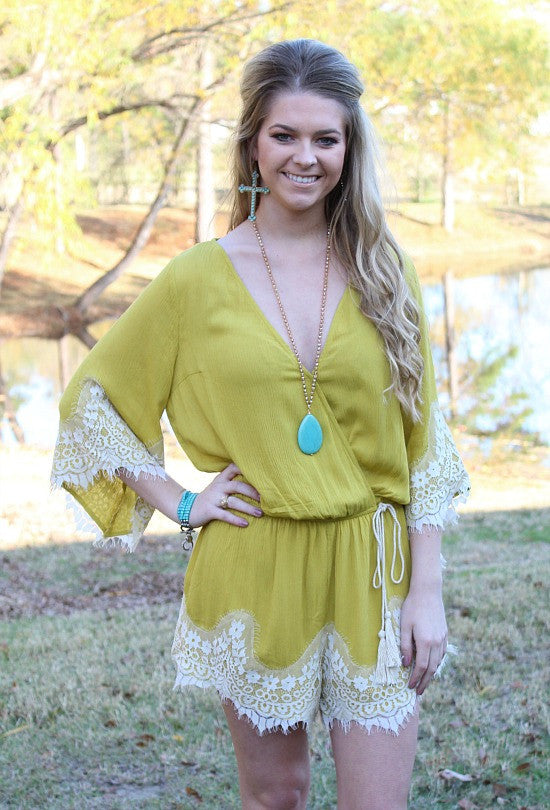 All Your Love Mustard Romper with Lace Trim
