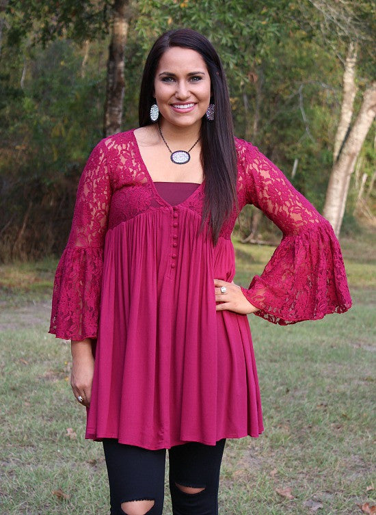 Only One Love Peasant Tunic with Lace Sleeves in Maroon