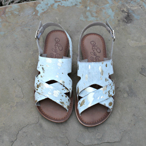 Cup of Tea Hair on Hide Sandal in White with Gold Acid Wash